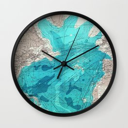 Vintage Blue Transatlantic Mapping Wall Clock
