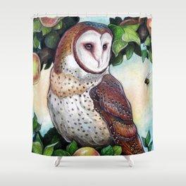 Barn Owl in Apple Tree Shower Curtain
