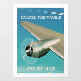 Travel the world - Go by air vintage poster Art Print