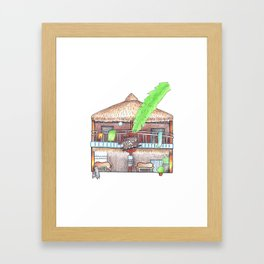 Rustic wooden house front view travel sketch from Koh Rong tropical island, Cambodia Framed Art Print