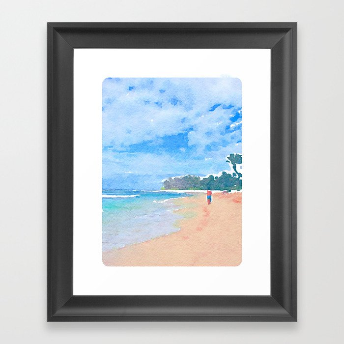 Wandering Down The Beach Framed Art Print