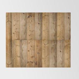 Wood Planks Dark Throw Blanket