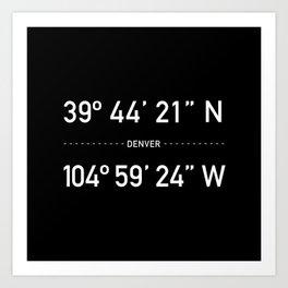 Denver Coordinates Art Print