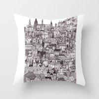 prague Throw Pillows featuring Prague by Justine Lecouffe