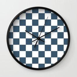 Dusky Blue Checkers Pattern Wall Clock
