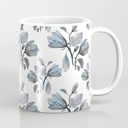Modern Magnolia Blossoms in Teal and Dusty Blue Coffee Mug