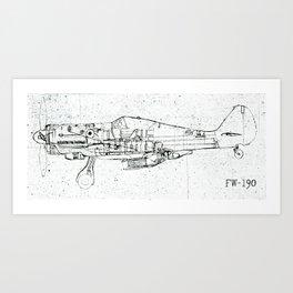 FW - 190 ( B & W) Art Print