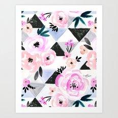 Sunset Rose Triangles Art Print