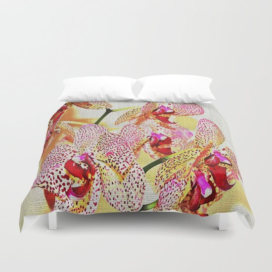 Painted Spotted Orchids Duvet Cover