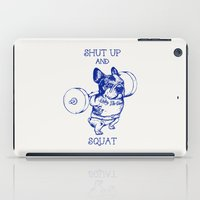 frenchie iPad Cases featuring Frenchie Squat by Huebucket