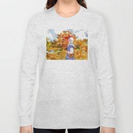 Heading to the Forest for Mushroom-Picking. Autumn Landscape. Girl's Portrait Long Sleeve T-shirt
