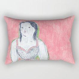 the girl is waiting Rectangular Pillow
