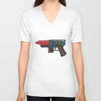 sci fi V-neck T-shirts featuring Sci-Fi Raygun by mFerbrache
