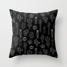 Cactus Silhouette White And Black Throw Pillow