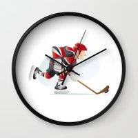hockey Wall Clocks featuring Hockey by Dues Creatius
