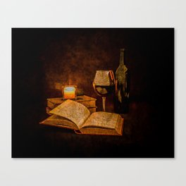 Wine and Reading by Candlelight Canvas Print