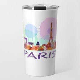 Paris City Skyline HQ, Watercolor Travel Mug