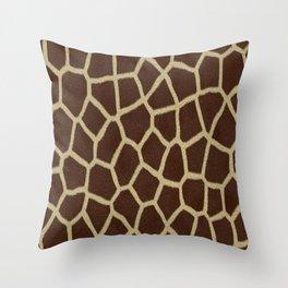 primitive safari animal brown and tan giraffe spots Throw Pillow