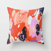 Throw Pillows featuring Pie For Breakfast by Emily Rickard