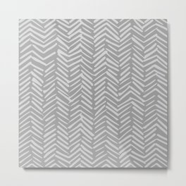 Geometric Art, Herringbone, Mudcloth, Gray, Wall Art Boho Metal Print