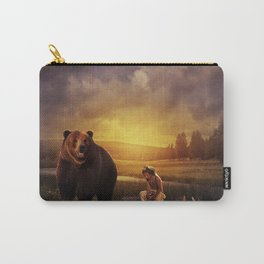 Native american boy and the bear Carry-All Pouch