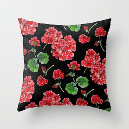 Red Geranium with black background Throw Pillow