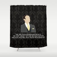 scandal Shower Curtains featuring A Scandal in Belgravia - Mycroft Holmes by MacGuffin Designs