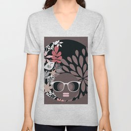Afro Diva : Sophisticated Lady Pale Pink Peach Taupe Unisex V-Neck