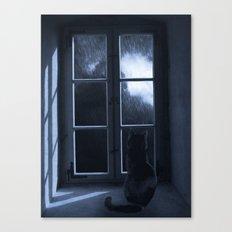 Watching the rain Canvas Print