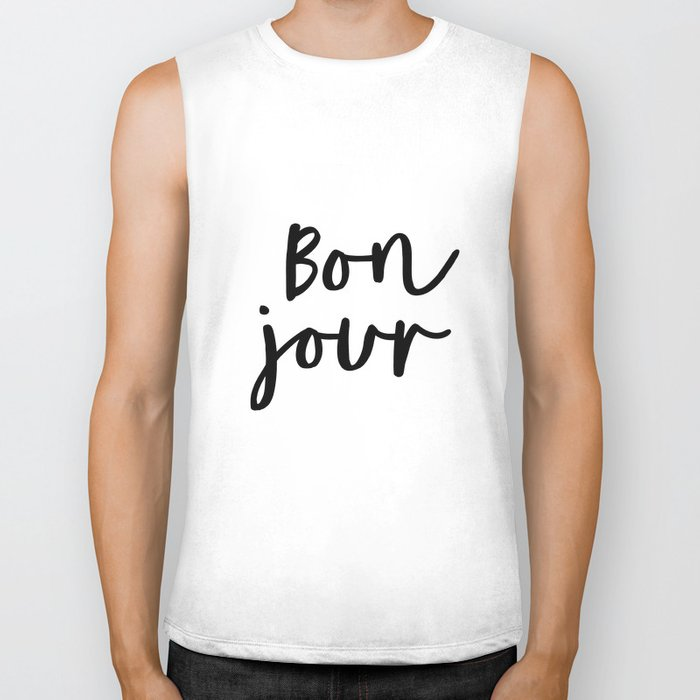 Bonjour black and white monochrome typography poster home wall decor bedroom minimalism Biker Tank