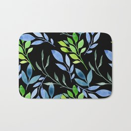 Blue and Green Leaves Bath Mat