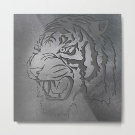 Metal Engraved Tiger Line art Metal Print