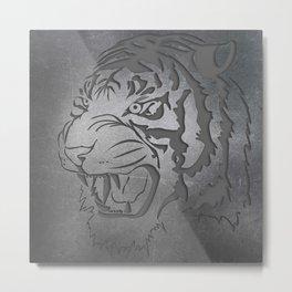 Metal Engraved Tiger Line art Metal Print