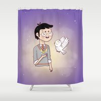 hedwig Shower Curtains featuring Magical friends by HypersVE