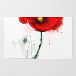 Red Poppy watercolor digital painting Rug