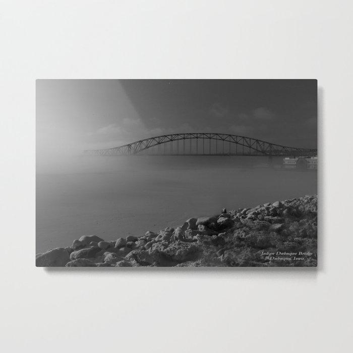 Julian Dubuque Bridge and the Mississippi River Metal Print