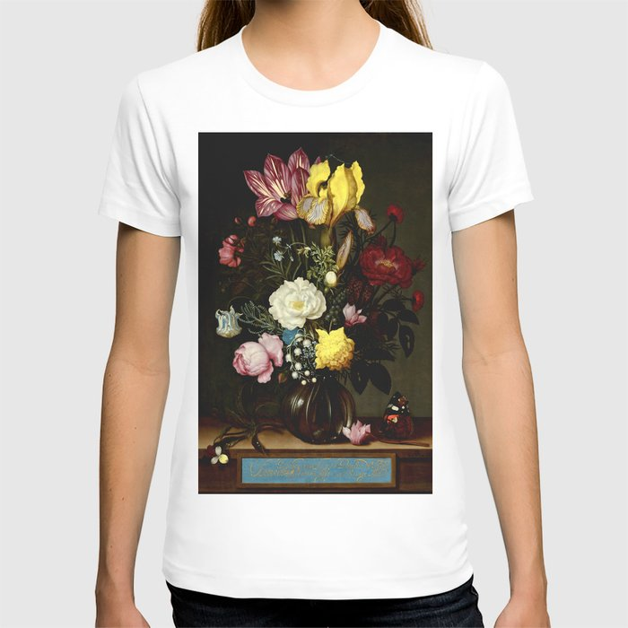 "Ambrosius Bosschaert the Elder ""Bouquet of Flowers in a Glass Vase"" T-shirt"
