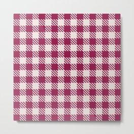 Plaid Pattern 513 Burgundy and Pink Metal Print