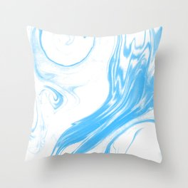 Suminagashi 2 blue and white marble spilled ink ocean swirl watercolor painting Throw Pillow