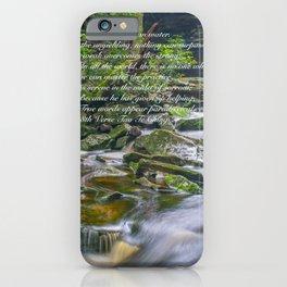 Tao Te Ching Quote Zen Waterfall Print iPhone Case