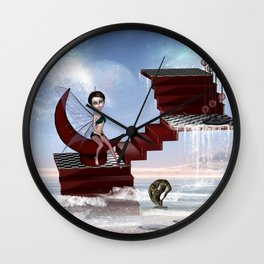Cute fairy sitting on a moon Wall Clock