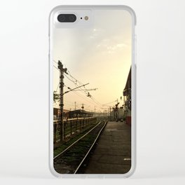 Sunrise at the Train Station Clear iPhone Case