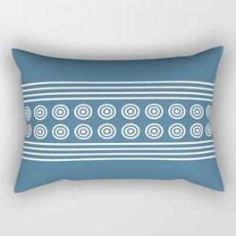Geometric Stripes & Circles - White on Blue Rectangular Pillow