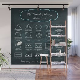 The Laundry Room Fabric Care Guide - Teal on Black Wall Mural