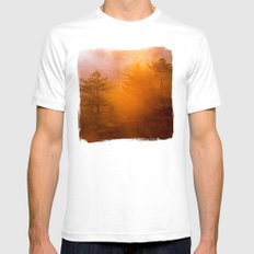 Golden Morning Glory Forest White Mens Fitted Tee SMALL