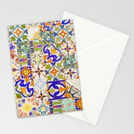 Moroccan Wall with colorful tiles pattern Stationery Cards