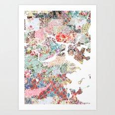 Boston map portrait Art Print