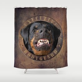 Executive bodyguard Angry rottweiler Shower Curtain