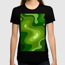 Multi Color Green Liquid Abstract Design T-shirt