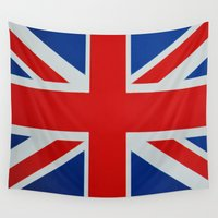 union jack Wall Tapestries featuring Union Jack by MICHELLE MURPHY